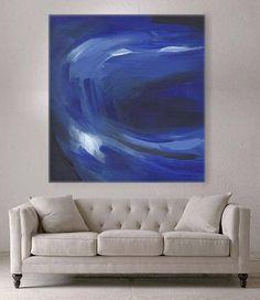 Blue Acrylic art painting Original Large painting on canvas