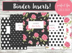 digital file binder cover designs custom college subject covers personalized shabby chic black pink floral polka dots 1149 usd by
