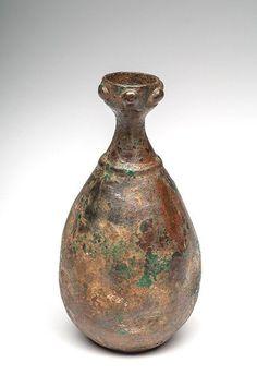 An early Islamic Bronze Oil Bottle, ca. 10th century AD