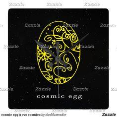 cosmic egg 3 ovo cosmico relógios de paredes  https://www.zazzle.com/eledilustrador?rf=238265024608608759