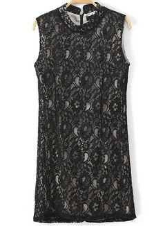Black Stand Collar Sleeveless Hollow Lace Dress - Sheinside.com