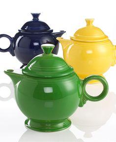 Festive Fiestaware teapots