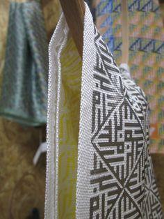 Darwish slim scarf | Handmade | Silk | silver and yellow