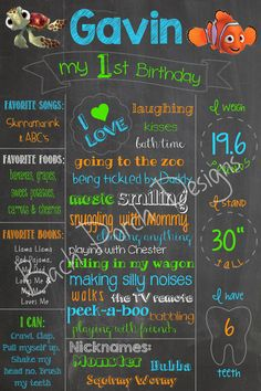 First birthday chalkboard sign, finding Nemo Check out my FB page: Bach Porch Designs