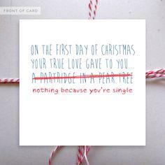 Hahahahahahahaha.   ...#mylife.   Funny Christmas Card  Single at Christmas. by NaughtyLittleCards, £1.50