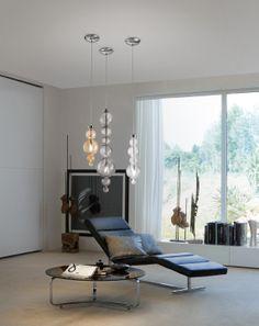 Evi Style pendant blown glass lamps - SAN MARCO SO1P amber - SO1G smoke grey - SO1M transparent