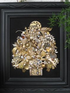 Large Framed Vintage Jewelry Handmade OOAK Christmas Tree