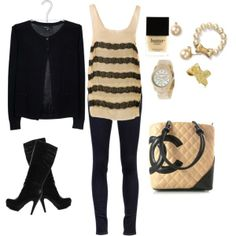 neutral and black boot outfit