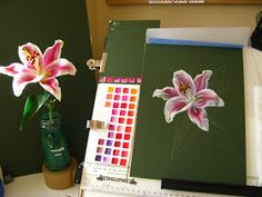 Botanical Sketches and Other Stories: Stargazer Lily in Gouache Red Color Chart, Love Flowers, Beautiful Flowers, Gouache Tutorial, Lilies Drawing, White Pencil, Easy Paintings, Botanical Art, Stargazing
