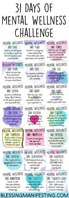 A Mental Wellness to challenge to encourage you to focus on your mental health. This is great for anxiety, depression, or PTSD. Usui Reiki, Mental Training, Self Care Routine, 31 Days, Healthy Mind, Self Improvement, Self Love, Health Fitness, Mindfulness