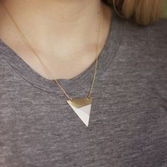 Metal Triangle Necklace (Pink - White - Bronze) from Fawn and Rose