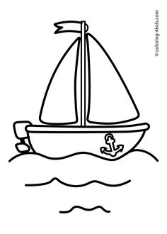 Boat, sailing ship coloring pages for kids (transportation)