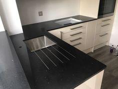 Nero Stella- Potters Bar, Herts - Rock and Co Granite Ltd L Shaped Kitchen, Kitchen Cabinets, Kitchen Appliances, Window Sill, Granite, Room, Home Decor, Diy Kitchen Appliances, Bedroom