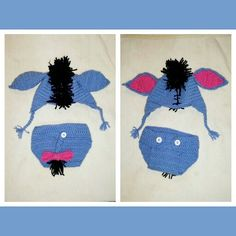 A cute baby crochet costume outfit of eeyore from winnie the pooh for a new born. I love the way it came out