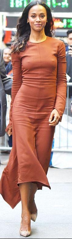 Who made Zoe Saldana's brown long sleeve dress and nude pumps?