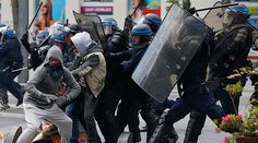 Tear gas, clashes, vehicles set on fire: Anti-labor reform protests rock France (PHOTOS, VIDEO)  http://pronewsonline.com  French riot police officers clash with protestors during a demonstration against the French labour law proposal in Nantes, France, as part of a nationwide labor reform protests and strikes, April 28, 2016 © Stephane Mahe