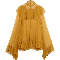 CHLOÉ  Ruffled silk-crepon turtleneck blouse ($1,375) ❤ liked on Polyvore featuring tops, blouses, ruffle turtleneck, yellow top, silk turtleneck, silk blouse and flounce blouse