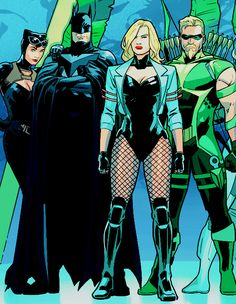 Canry and Ollie with Bats and Cat Batman And Catwoman, Batman And Superman, Batman Logo, Dc Comics Characters, Dc Comics Art, Marvel Vs, Marvel Dc Comics, Bruce And Selina, Young Justice