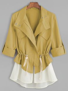 Roll Sleeve Drawstring Jacket With Contrast Trim -SheIn(Sheinside) Look Fashion, Fashion News, Fashion Outfits, Womens Fashion, How To Roll Sleeves, Look Chic, Cotton Style, Blazer Jacket, Ideias Fashion