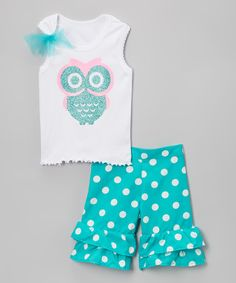 Loving this White & Teal Owl Tank & Ruffle Shorts - Infant, Toddler & Girls on #zulily! #zulilyfinds