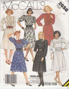 Vintage 80s Sewing Pattern DAY or CAREER DRESS by HoneymoonBus, $7.99