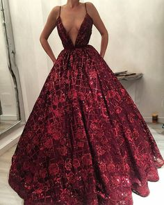 Ball Gown Dark Red Prom Dress, Long Lace Prom Dress, Prom Dress with Beading Red Lace Prom Dress, Red Wedding Dresses, Burgundy Dress, Maroon Prom Dress, Princess Prom Dresses, Elegant Dresses, Pretty Dresses, Beautiful Dresses, Amazing Prom Dresses