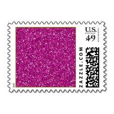 Glitter,hot pink,girly,endy,fun,modern,cute,teen postage