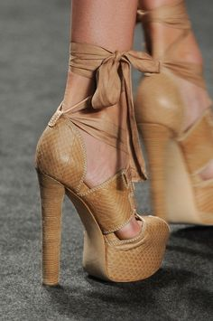 Vera Wang Natural High Heeled Lace-Up Platform Sandal Spring 2013 NY Fashion Show #Shoes