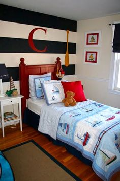 Inspiration for finalizing the big boy nautical room...I love the stripes!