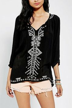 Seriously if I could make love to a shirt this would be it. from Urban Outfitters size large for me please! please! :) Ecote Festival Gauze Tunic