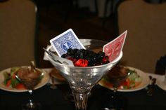 Roaring 20's Theme Party Red & Black Martini Vase Centerpieces Glass Beads & Playing Cards