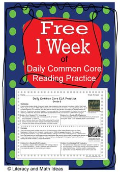 Literacy  Math Ideas: Free Daily Common Core One Week of Daily Common Core Reading Practice