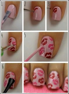 DIY Valentine's Day Nail Art Designs - - Check out these Valentine's nail art ideas for getting your talons romance ready. Diy Valentine's Nail Art, Diy Valentine's Nails, Nail Art At Home, Love Nails, Pretty Nails, Nail Art Modele, Valentine Nail Art, Nails For Valentines Day, Valentine's Day Nail Designs