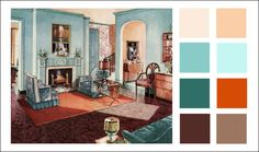 1929 Armstrong Living Room, turquoise, chocolate, pumpkin, aqua, coffee