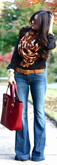 Love the scarf & wide leg jeans! Fall outfit.