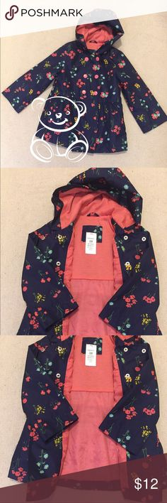 🌟$10 if Bundle 2🌟 Carter's Navy Blue Raincoat Flower print. Fully lined in pink. 100% Polyester Carter's Jackets & Coats Raincoats