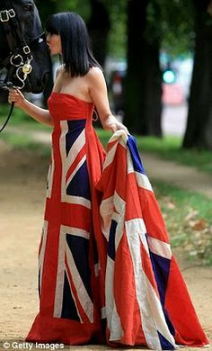 Flying the flag: Linzi Stoppard poses in showstopping Union Jack gown to launch fashion fundraiser in aid of military charities British Flag Dress, Union Jack Dress, Save The Queen, British Style, British Fashion, London Fashion, Equestrian Style, Wedding Gowns, Women Wear