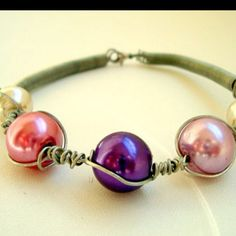 Glass pearls bracelet ETSY