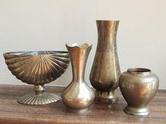 Vintage Brass Vase Collection Set of FIVE by LeBrunDesignsInc