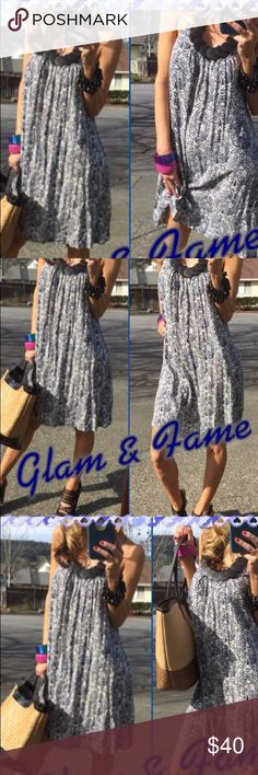 Dress size M/L Halter neck dress/tunic. Beautiful necklace attached what makes this dress really stands out. It fits to small size to large because it's very loose. Tags attached. Glam & Fame Dresses Midi