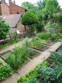 """""""Hortus simplicium"""" (Garden of simple) kitchen garden at The Medieval garden of Torino, Italy"""
