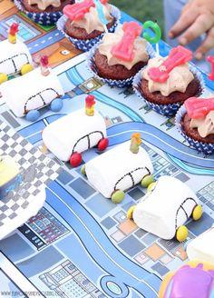 Disney Cars Birthday Party - vintage marshmallow cars, chocolate and Oreo apples, Oreo cupcakes with Nesquick chocolate frosting and Disney Cars decoration