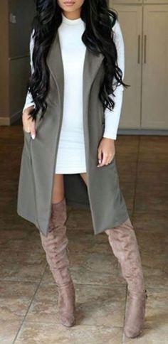 #fall #fashion / long sleeve dress + boots
