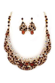 Collier Crystal Statement Necklace Set in Topaz