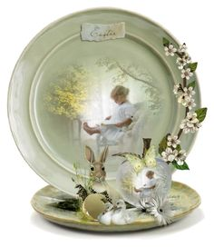 Decorate a Plate for Easter/Spring 🌸🐥 Snow Globes, Digital Art, Easter, Plates, Spring, Tableware, Awesome, Artwork, Polyvore