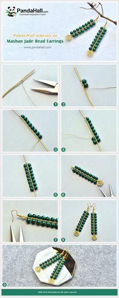 Beebeecraft tutorials on Mashan JadeBead Earrings Handmade Wire Jewelry, Wire Wrapped Jewelry, Earrings Handmade, Bead Jewellery, Beaded Jewelry, Bijoux Fil Aluminium, Homemade Jewelry, Bijoux Diy, Jewelry Making Tutorials