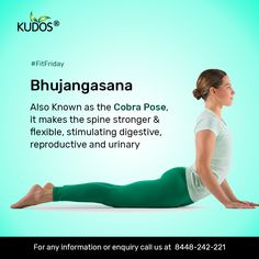 Bhujangasana (The Cobra Pose ) stretches the chest while strengthening the spine and shoulders. It also helps to open lungs which is therapeutic for Asthma. Yin Yoga, Morning Yoga Workouts, Yoga Facts, Pilates, Learn Yoga, Yoga Positions, Yoga Tips, Yoga Routine, Yoga Benefits