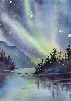 Northern Lights Original Watercolour :copyright:RiverWalker Arts