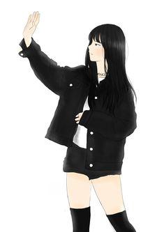 Gfriend Eunha fanart Emo Anime Girl, Hinata, Music Illustration, Anime Art Fantasy, Anime Dress, Anime Girl Drawings, Korean Art, G Friend, Bff Pictures