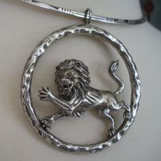 Lion Sterling Silver Pendant  Huge LEO the by thecuriousbead, $118.00